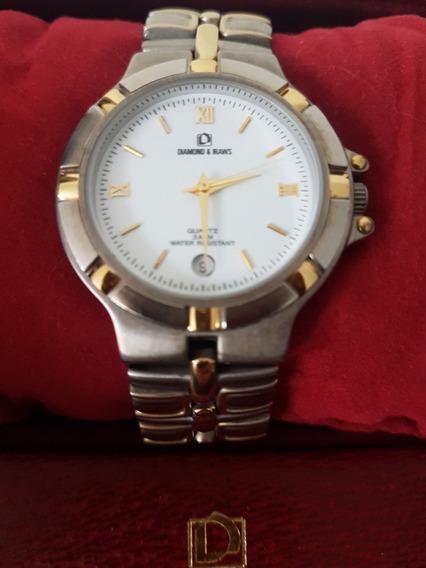 Relógio Masculino Diamond & Iraws C/ Detalhes Banhado A Ouro