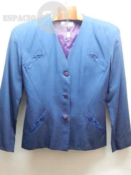 Saco Para Dama De Gabardina Pura Seda Color Azul Escote En V
