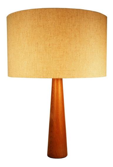 Abajur Luminária Moderno Madeira G Com Cúpula De Tecido