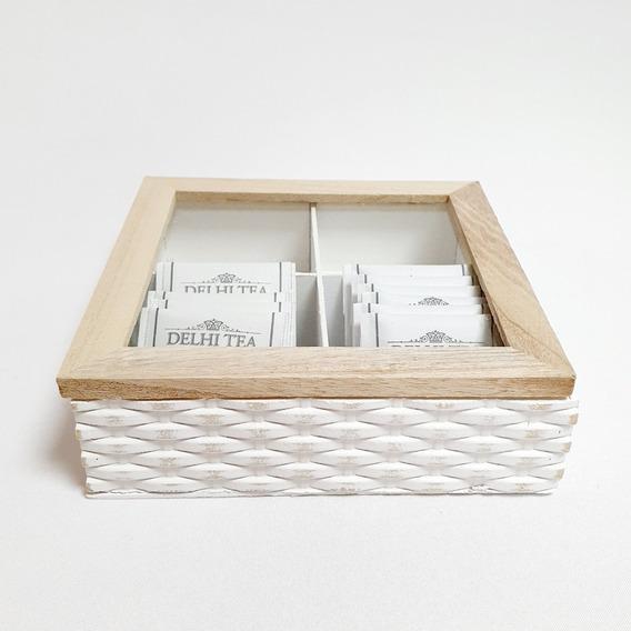 Caja De Te De Madera Rustica Organizador De Saquitos X 4
