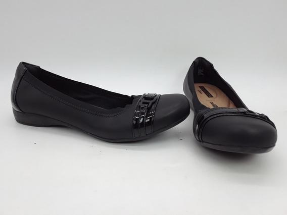 Clarks Kinzie Zapatos Flats De Piel Negros Talla 23.5 Mex