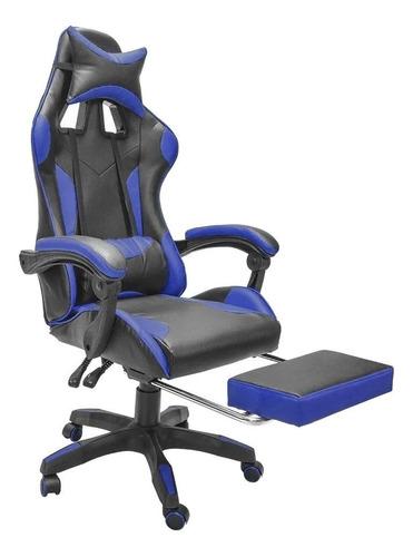 Imagen 1 de 5 de Silla de escritorio Top Living Beamer gamer ergonómica  negra y azul con tapizado de cuero sintético