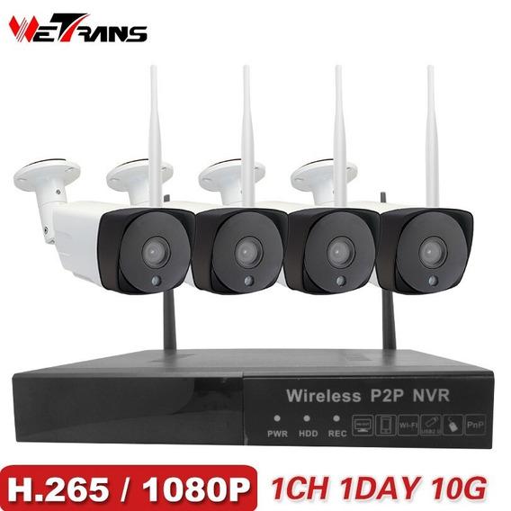 Kit Câmeras De Segurança Wetrans H.265 Sem Fio Full Hd Wi-fi