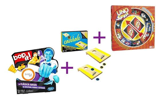Kit Juegos De Mesa Bop It, Rummy Básico Y Uno Spin Clásicos