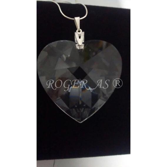 Colar Coração Cristal Swarovski Prata 925 - 4,0 Cm
