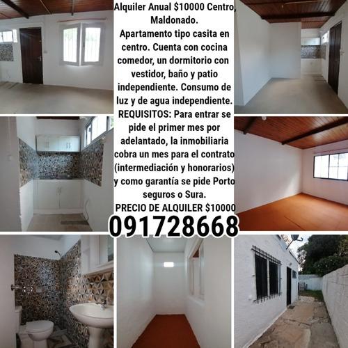Alquiler Anual $10000 Centro, Maldonado.