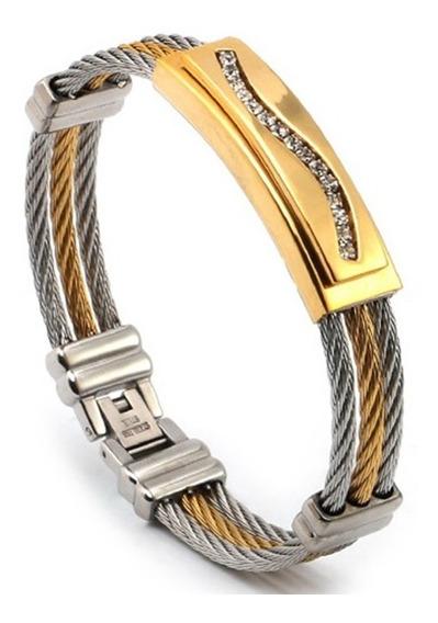 Pulseira Masculina Bracelete Aço Inox Banhada Ouro E Strass