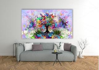 Cuadro Árbol Acuarela Abstracto Colores Moderno Lienzo