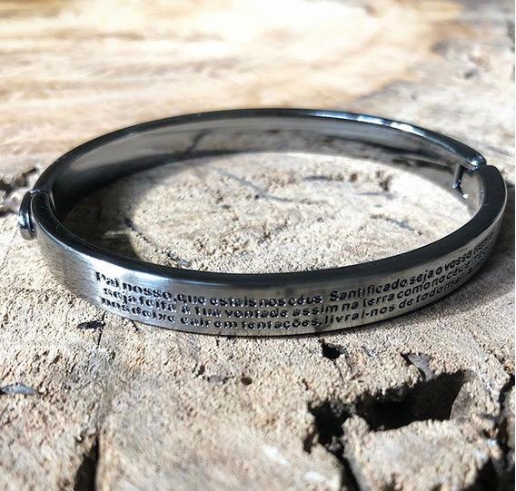 Pulseira Bracelete Masculina Feminina Oração Pai Nosso Aço