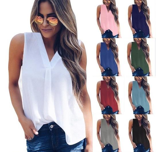 Blusa Dama Chifon Unicolor Fashion