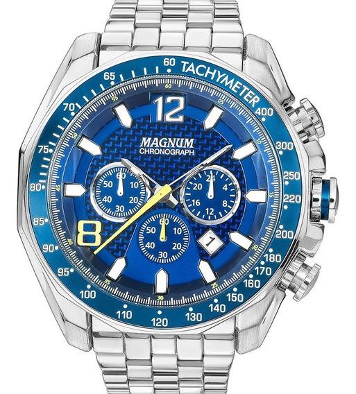 Relógio Magnum Masculino Cronógrafo Analógico Prata Azul