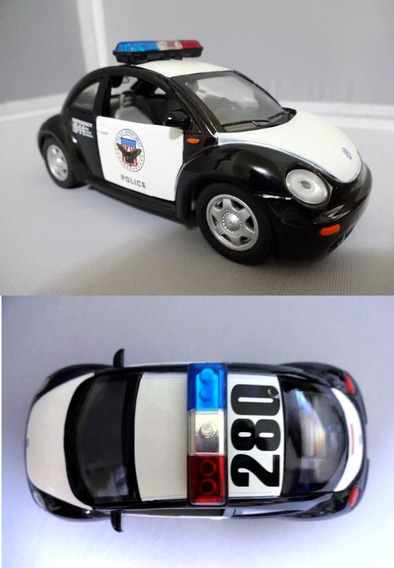 Miniatura Volkswagen New Beetle Policia Escala 1:32