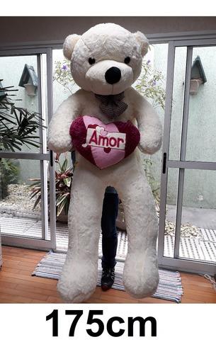 Urso Creme Gigante 1,75 M 175cm Super Romântico Coração Love