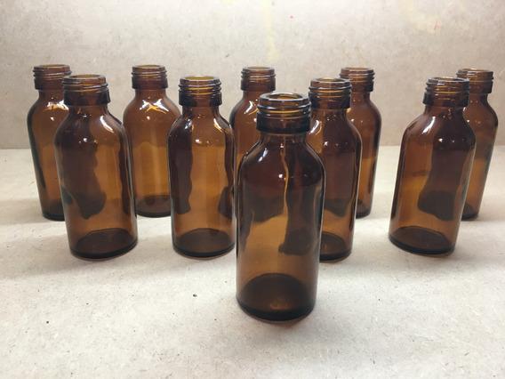 Antiguo Juego De 10 Botellas Ambar 75ml Aceites Escencias