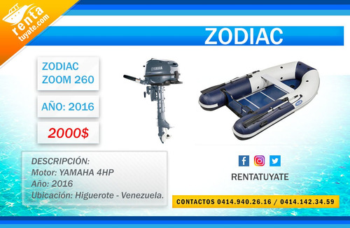 Inflable Marca Zodiac Modelo Zoom 260