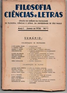Revista Filosofia Ciências E Letras Grêmio Da Usp 1936 Raro