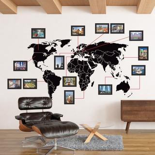 Mapa Mundi Adesivo Molduras Mdf, Mapa Viagens - Frete Grátis