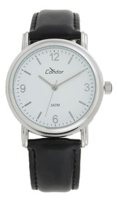 Relógio Masculino Prata Condor Pulseira Couro Preto Co2035af