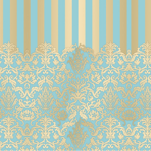50 Saco Metalizado Para Presente 20x29 Adamascado Azul/ouro