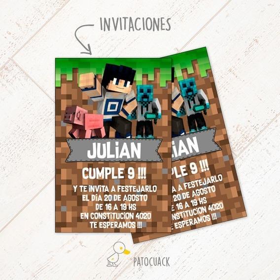 Minecraft Kit + Props De Regalo-textos Editables O Personali