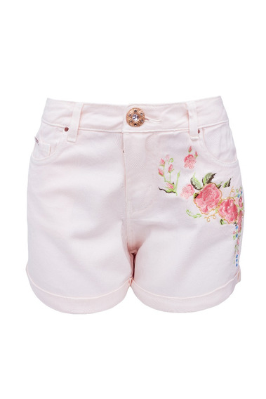 Shorts Feminino Rosa Bordado Sck