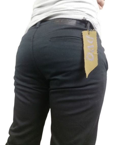 Pantalón Entuvado Negro De Gabardina Skinny Strech