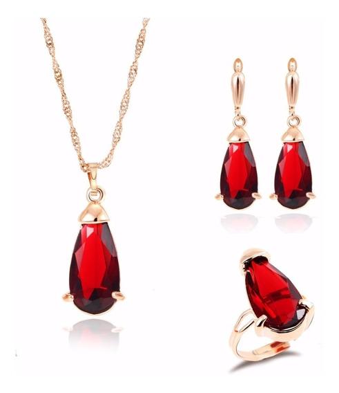 Set Cristales Aretes Collar Caja Y Certificado Color Rojo