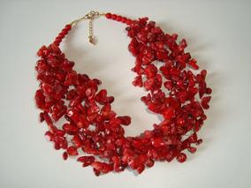 Max Colar E Brincos De Cascalho Coral Natural Vermelho