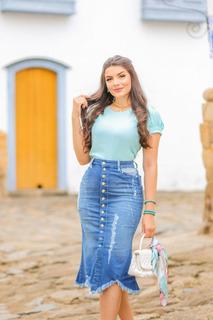 Saia Jeans Midi Assimétrica Destroyed Moda Evangelica Joyaly