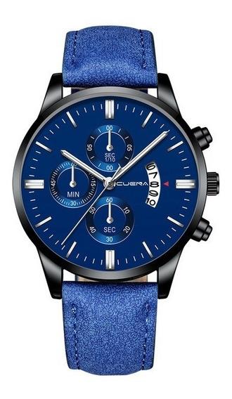 Relógio Cuena Masculino De Pulso Ultra Fino Analógico Azul Fashion