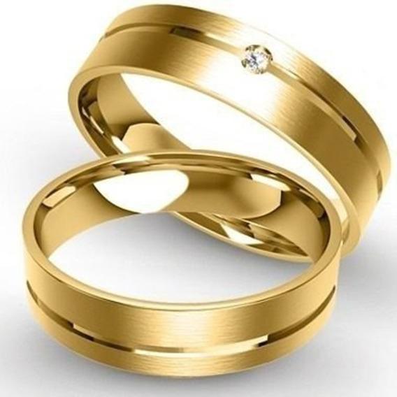 Alianças De Ouro 18k 4mm 6 Gramas Com Diamantes Casamento