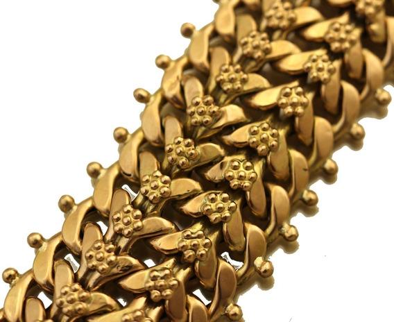 Pulseira Elo Lacraia Com Flores 19cm Em Ouro Rose 18k J22358
