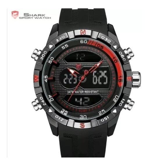 Relógio Masculino Shark Pulseira Borracha Analógico/digital