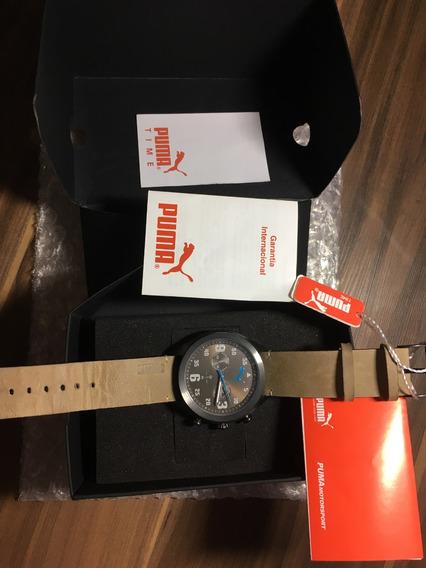 Relógio Masculino De Pulso Puma - Pulseira Couro Marrom