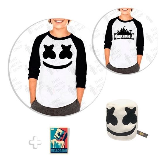Kit 2 Playera Raglan Niño Marshmello Fortnite + Peluche + Sticker
