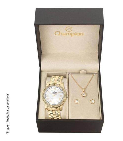 Kit Relógio Champion Feminino Analógico Cn27287w + Brincos