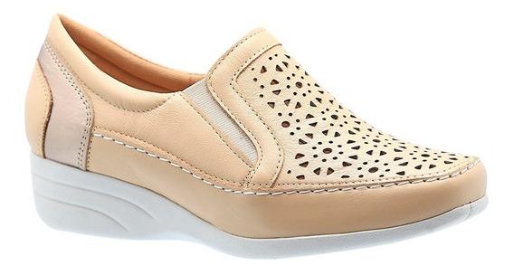 Sapato Feminino Anabela Em Couro Porcelana 3141 Doctor Shoes