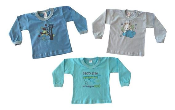 Kit Com 10 Camisetas Manga Longa Com Estampa