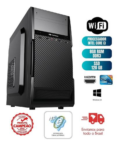 Imagem 1 de 7 de Cpu Computador Pc Intel Core I3 8gb Ssd 120gb - Novo + Nfe