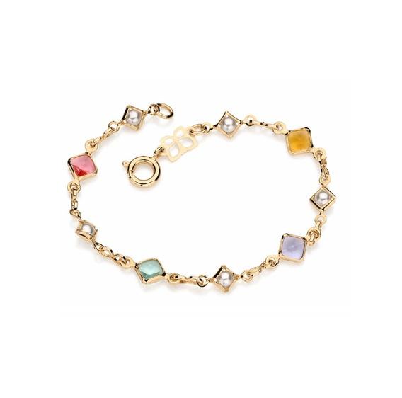 Pulseira Rommanel Banhado Ouro Pedras Coloridas Lindo 550851