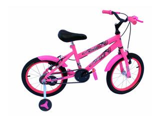 Bicicleta Aro 16 Fem Cor Especial-rosa Neon-acessorio Preto