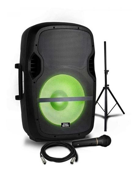 Caixa De Som Ativa Pro Bass 15 Elevate Lp +tripé E Microfone