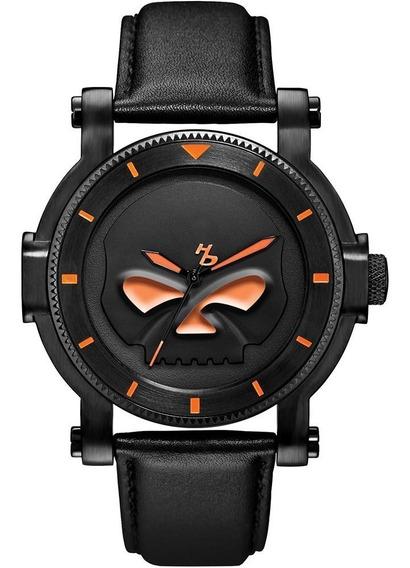 Reloj D/ Caballero Harley Davidson 78a114 Calavera Naranja