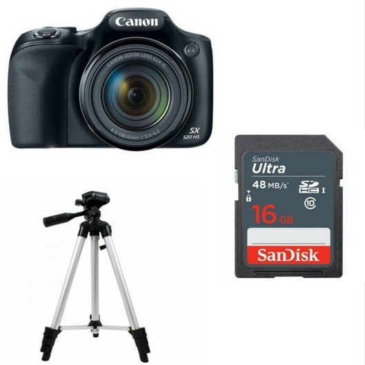 Camera Canon Kit Iniciante P/ Youtuber Sx530hs+tripe+16gb80 Mb/s