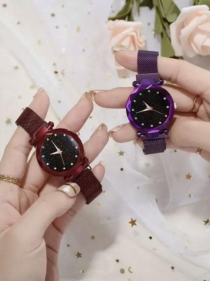 Relógio Feminino Pulseira Magnética Céu Estrelado Promoção