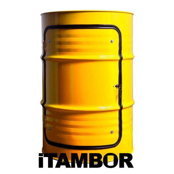 Tambor Decorativo Amarelo - Receba Em Breu Branco