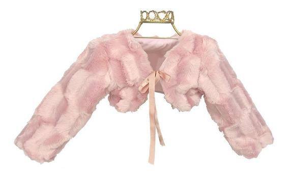 Bolero Infantil De Pelo Rosê Para Usar Com Vestido Luxo B200