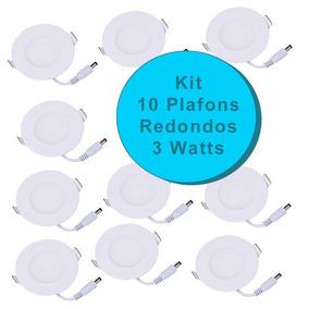 Kit 10 Plafon Painel Luminaria Led Slim Redondo 3w