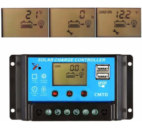 Controlador De Carga Solar Pwm 20a C/ Amperímetro