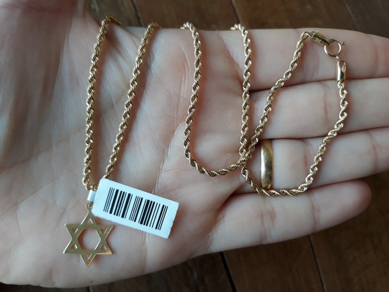 Corrente Cordão Baiano 45cm E Estrela De Davi Ouro 18k